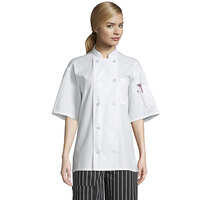 Uncommon Threads Delray Pro Vent 0421 Unisex Lightweight White Customizable Short Sleeve Chef Coat with Mesh Back - 2XL