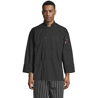 Uncommon Threads Classic Poplin Pro Vent 0422 Unisex Lightweight Black Customizable Long Sleeve Chef Coat with Mesh Back - 2XL