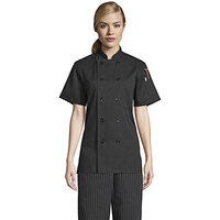 Uncommon Threads Tahoe 0478 Women's Black Customizable Short Sleeve Chef Coat with Side Vents - 2XL
