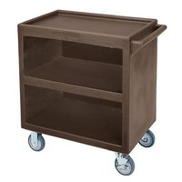 Cambro BC330 Dark Brown Three Shelf Service Cart with Three Enclosed Sides - 33 1/8 inch x 20 inch x 34 5/8 inch