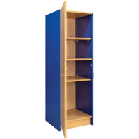 Tot Mate TM2084A.S3322 Royal Blue and Maple Single-Door Tall Laminate Cabinet - 19 1/2 inch x 20 1/2 inch x 59 1/2 inch