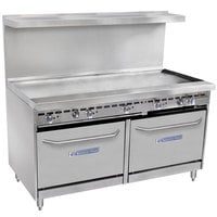 Bakers Pride Restaurant Series 60-BP-0B-G60-S26 Liquid Propane Range with Two Standard 26 inch Ovens and 60 inch Griddle
