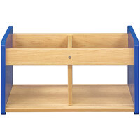 Tot Mate TM2181A.S3322 Royal Blue and Maple Laminate Book / Toy Storage - 24 inch x 12 inch x 14 inch
