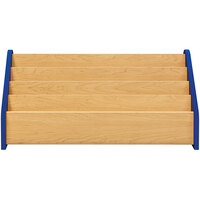 Tot Mate TM2131A.S3322 Royal Blue and Maple Laminate 4 Level Book Display - 32 1/2 inch x 14 inch x 15 1/2 inch