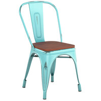 Lancaster Table & Seating Alloy Series Distressed Seafoam Metal Indoor Industrial Cafe Chair with Vertical Slat Back and Walnut Wood Seat