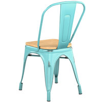 Lancaster Table & Seating Alloy Series Distressed Seafoam Metal Indoor Industrial Cafe Chair with Vertical Slat Back and Natural Wood Seat