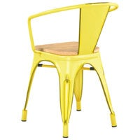 Lancaster Table & Seating Alloy Series Distressed Yellow Metal Indoor Industrial Cafe Arm Chair with Vertical Slat Back and Natural Wood Seat