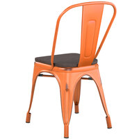 Lancaster Table & Seating Alloy Series Distressed Orange Metal Indoor Industrial Cafe Chair with Vertical Slat Back and Black Wood Seat