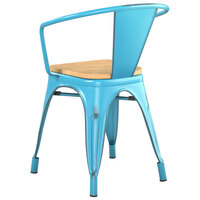 Lancaster Table & Seating Alloy Series Distressed Arctic Blue Metal Indoor Industrial Cafe Arm Chair with Vertical Slat Back and Natural Wood Seat