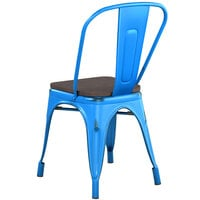 Lancaster Table & Seating Alloy Series Distressed Blue Metal Indoor Industrial Cafe Chair with Vertical Slat Back and Black Wood Seat
