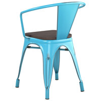 Lancaster Table & Seating Alloy Series Distressed Arctic Blue Metal Indoor Industrial Cafe Arm Chair with Vertical Slat Back and Black Wood Seat