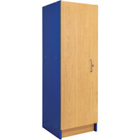 Tot Mate TM2084R.S3322 Royal Blue and Maple Single-Door Tall Laminate Cabinet - 19 1/2 inch x 20 1/2 inch x 59 1/2 inch; Unassembled