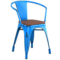 Lancaster Table & Seating Alloy Series Distressed Blue Metal Indoor Industrial Cafe Arm Chair with Vertical Slat Back and Walnut Wood Seat