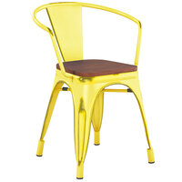 Lancaster Table & Seating Alloy Series Distressed Yellow Metal Indoor Industrial Cafe Arm Chair with Vertical Slat Back and Walnut Wood Seat