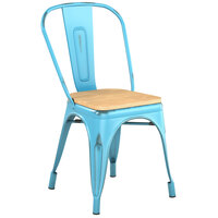Lancaster Table & Seating Alloy Series Distressed Arctic Blue Metal Indoor Industrial Cafe Chair with Vertical Slat Back and Natural Wood Seat