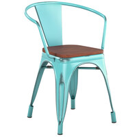 Lancaster Table & Seating Alloy Series Distressed Seafoam Metal Indoor Industrial Cafe Arm Chair with Vertical Slat Back and Walnut Wood Seat