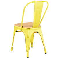 Lancaster Table & Seating Alloy Series Distressed Yellow Metal Indoor Industrial Cafe Chair with Vertical Slat Back and Natural Wood Seat