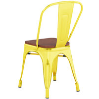 Lancaster Table & Seating Alloy Series Distressed Yellow Metal Indoor Industrial Cafe Chair with Vertical Slat Back and Walnut Wood Seat