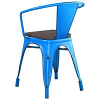 Lancaster Table & Seating Alloy Series Distressed Blue Metal Indoor Industrial Cafe Arm Chair with Vertical Slat Back and Black Wood Seat