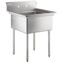 "Steelton 29 1/2"" 18-Gauge Stainless Steel One Compartment Commercial Sink without Drainboard - 24"" x 24"" x 12"" Bowl"