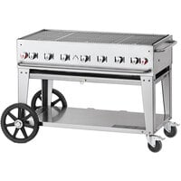 Crown Verity CV-MCB-48-SI 50/100-PRO Pro Series 48 inch Outdoor Mobile Grill with Roll Dome, Bun Rack, and 2 Side Shelves - 99,000 BTU