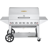Crown Verity CV-MCB-48PRO-NG Pro Series 48 inch Natural Gas Outdoor Mobile Grill with Roll Dome, Bun Rack, and 2 Side Shelves - 99,000 BTU