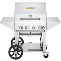 Crown Verity CV-MCB-30PRO-NG Pro Series 30 inch Natural Gas Outdoor Mobile Grill with Roll Dome, Bun Rack, and 2 Side Shelves - 64,500 BTU