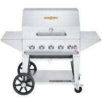 Crown Verity CV-MCB-36PRO-NG Pro Series 36 inch Natural Gas Outdoor Mobile Grill with Roll Dome, Bun Rack, and 2 Side Shelves - 79,500 BTU