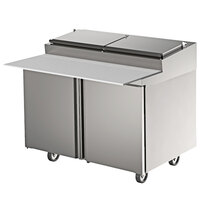Delfield 4496RP 96 inch Three Door Refrigerated Pizza Prep Table with Raised Rail