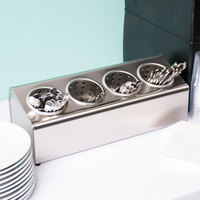Steril-Sil LTC-4 In-Line Countertop Stainless Steel 4-Cylinder Flatware Organizer