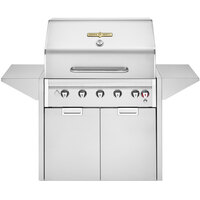 Crown Verity EE-36M Estate Elite Series 36 inch Liquid Propane Grill with Roll Dome, Bun Rack, Two End Shelves, Two-Door Cabinet, and Cover - 79,500 BTU