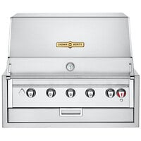 Crown Verity IBI36NG Infinite Series Natural Gas 36 inch Built-In Grill with Roll Dome, Bun Rack, Custom Fitted Cover, and Regulator - 70,000 BTU