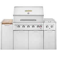 Crown Verity EE-36I-NG Estate Elite Series 36 inch Natural Gas Island Cart Grill with Roll Dome, Bun Rack, Side Burner, Cabinets, and Cover - 79,500 BTU