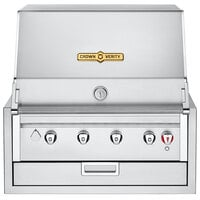 Crown Verity IBI30NG Infinite Series Natural Gas 30 inch Built-In Grill with Roll Dome, Bun Rack, Custom Fitted Cover, and Regulator - 56,000 BTU