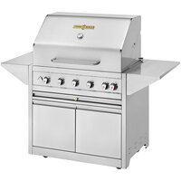 Crown Verity EE-36M-NG Estate Elite Series 36 inch Natural Gas Grill with Roll Dome, Bun Rack, Two End Shelves, Two-Door Cabinet, and Cover - 79,500 BTU