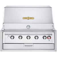 Crown Verity IBI36LP Infinite Series Liquid Propane 36 inch Built-In Grill with Roll Dome, Bun Rack, Custom Fitted Cover, and Regulator - 70,000 BTU