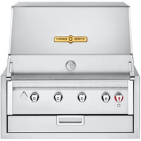 Crown Verity IBI30LP Infinite Series Liquid Propane 30 inch Built-In Grill with Roll Dome, Bun Rack, Custom Fitted Cover, and Regulator - 56,000 BTU