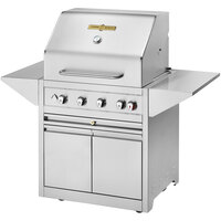 Crown Verity EE-30M-NG Estate Elite Series 30 inch Natural Gas Grill with Roll Dome, Bun Rack, Two End Shelves, Two-Door Cabinet, and Cover - 64,500 BTU