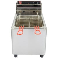 Cecilware EL15 Stainless Steel Electric Commercial Countertop Deep Fryer with 15 lb. Fry Tank - 120V, 1800W