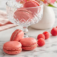 White Toque French Raspberry Macarons - 35/Tray