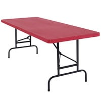 NPS Adjustable Folding Table, 30 inch x 72 inch Plastic, Red - BTA-3072-40