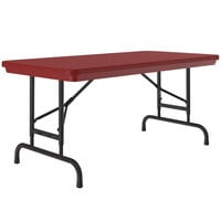 Correll Folding Table, 24 inch x 48 inch Plastic Adjustable Height, Red - R-Series RA2448