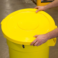 Continental 3201YW Huskee 32 Gallon Yellow Round Trash Can Lid