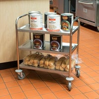 Choice 28 inch x 16 inch x 32 inch Knocked Down 18 Gauge Stainless Steel 3 Shelf Utility Cart