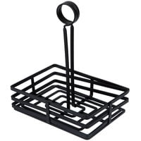 Choice Flat Coil Rectangular Wrought Iron Condiment Caddy with Card Holder - 7 7/8 inch x 5 1/2 inch x 9 1/2 inch