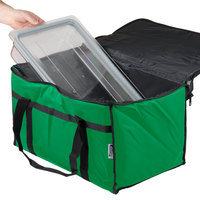 Choice Insulated Food Delivery Bag / Pan Carrier, Green Nylon, 23 inch x 13 inch x 15 inch
