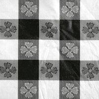 Intedge 52 inch x 72 inch Black Checkered Gingham Vinyl Table Cover with Flannel Back