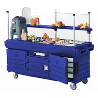 Cambro KVC854186 CamKiosk Navy Blue Vending Cart with 4 Pan Wells