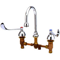 T&S B-0866-PV Deck Mounted Medical Lavatory Faucet with 8 inch Adjustable Centers, 6 inch Wrist Action Handles, Swivel Gooseneck with Rosespray, and Pedal Valve Connection