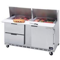 Beverage-Air SPED60HC-12M-2 60 inch 1 Door 2 Drawer Mega Top Refrigerated Sandwich Prep Table